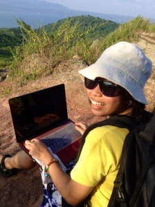 at Taal Volcano with my laptop
